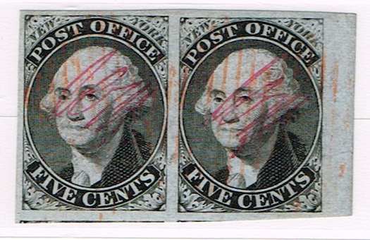 NY Postmaster Provisional – Blue Paper Pair